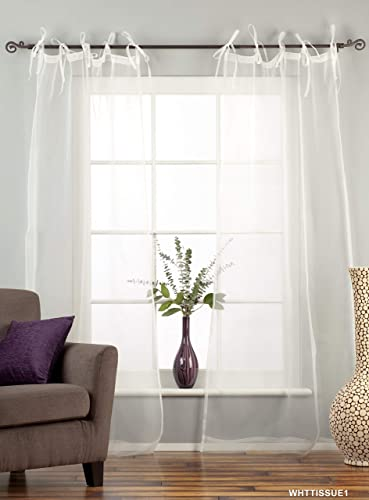 Indian Selections White Tie Top Sheer Tissue Curtain/Drape/Panel