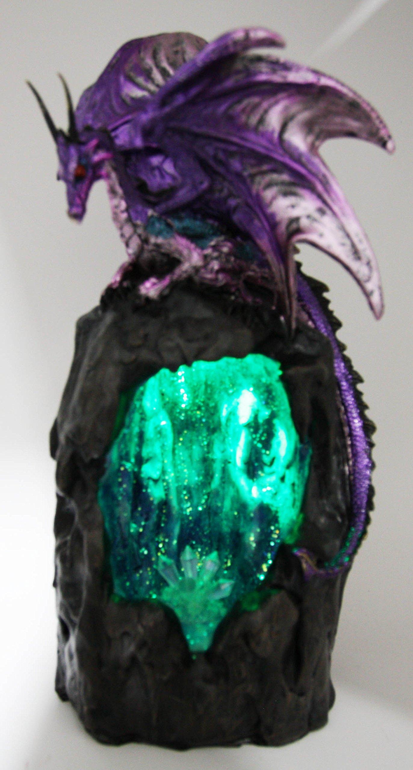 Ebros Purple Azurite Quartz Dragon Climbing On Gemstone Mountain Backflow Incense Burner Figurine Faux Stone by Ebros Gift (Image #9)