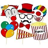 Veewon 13pcs Photo Booth Puntelli Diy Kit Circo Clown Cosplay per la fotografia in Carnival Party, Matrimonio, festa di compleanno