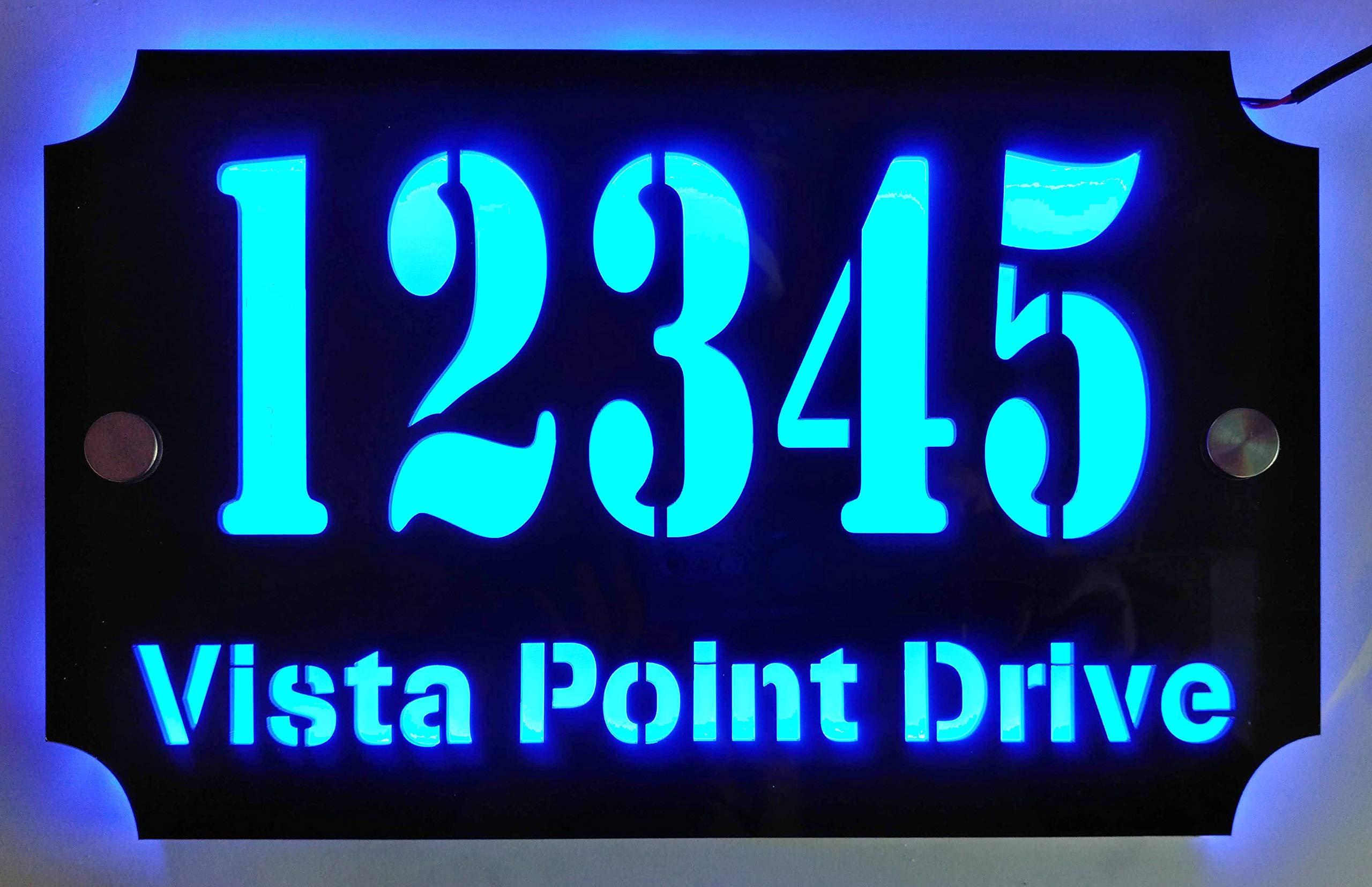 Custom House Address Plaque, LED Illuminated Laser Engraved Acrylic Double-Plates Sign, Premium Quality, Stylish and Durable (11''x7'' Rectange, Blue LED)