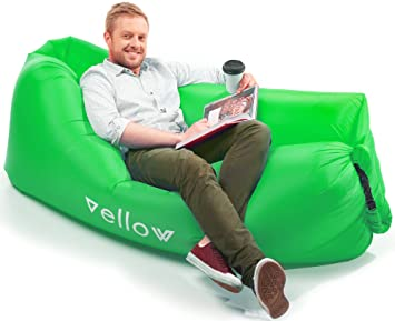 vellow inflatable lounger hangout lazy bag blow up air couch sofa amazon     vellow inflatable lounger hangout lazy bag blow up      rh   amazon