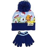 Pokèmon Conjunto de Gorro Con Pompon y Guantes Para Niño, Set de 2 Piezas Diseño Pokeballs y Personajes Pikachu…