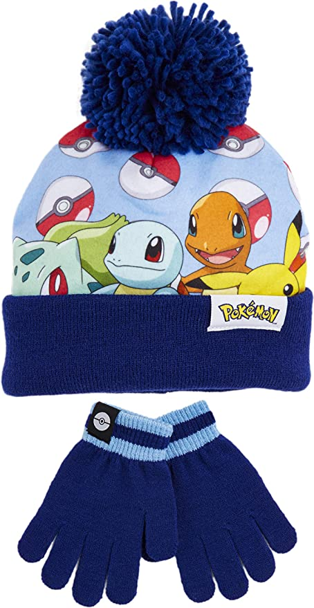4-8 anni Set invernale con cappello e guanti Pokemon Pikachu per bambini e ragazze