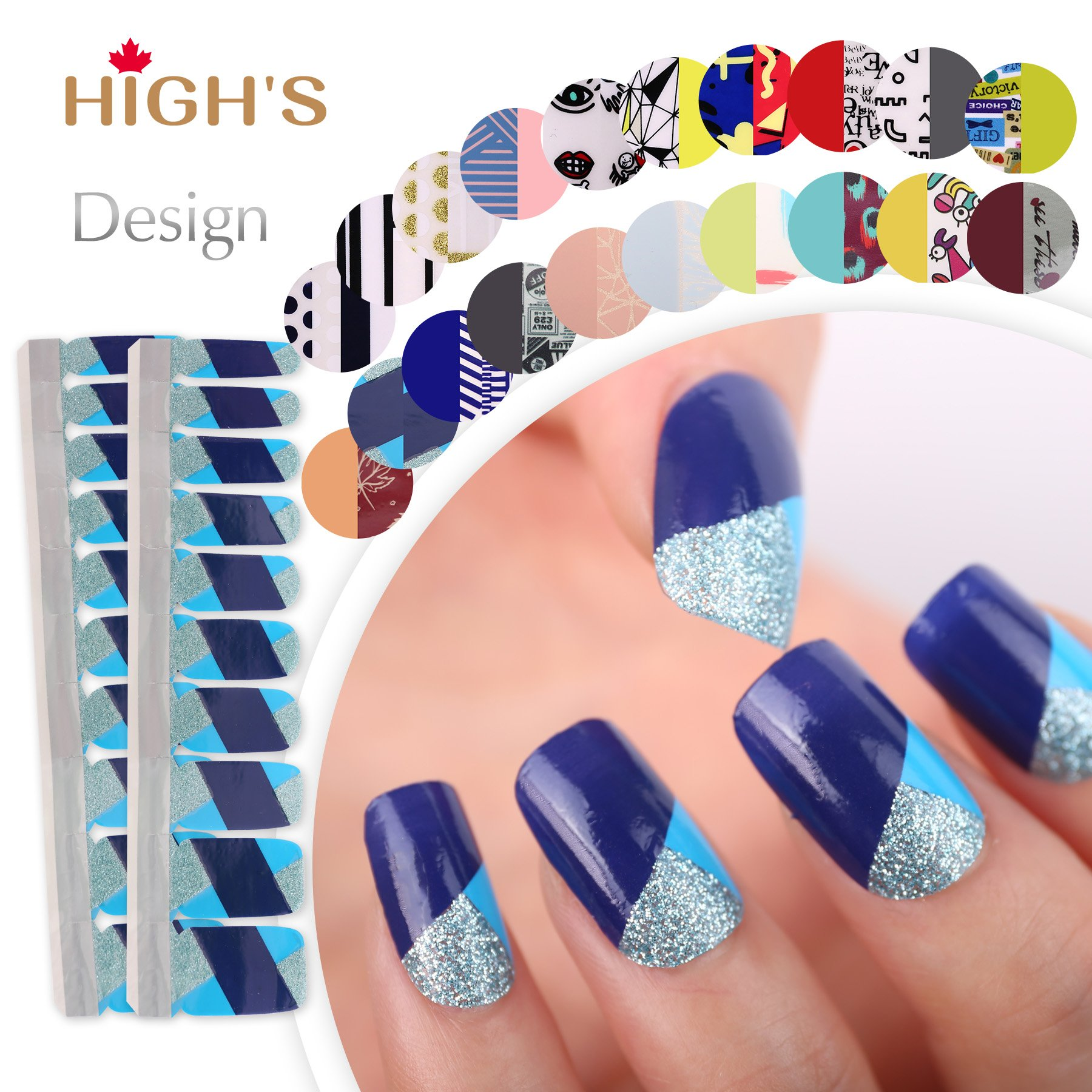 HIGH'S EXTRE ADHESION 20pcs Nail Art Transfer Decals Sticker Design Series  The Cocktail Collection Manicure DIY