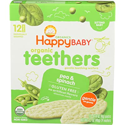Happy Family Baby Organic Teething Wafers, Blueberry and Purple Carrot, 1.7 oz: Grocery & Gourmet Food