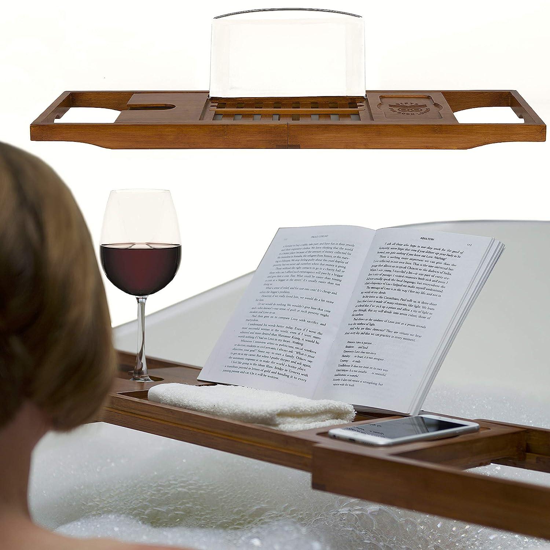 Porta Libro Da Bagno E Porta vassoio per vasca da bagno di bambù naturale di qualità superiore, con lati estensibile, vino vetro, lettura e supporto tablet - caldo Noce Legno Marrone Gifts for Book Lovers
