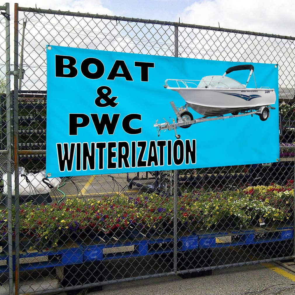 4 Grommets Set of 3 Multiple Sizes Available Vinyl Banner Sign Boat /& PW Winterization #1 Business Wheel Marketing Advertising Blue 24inx60in