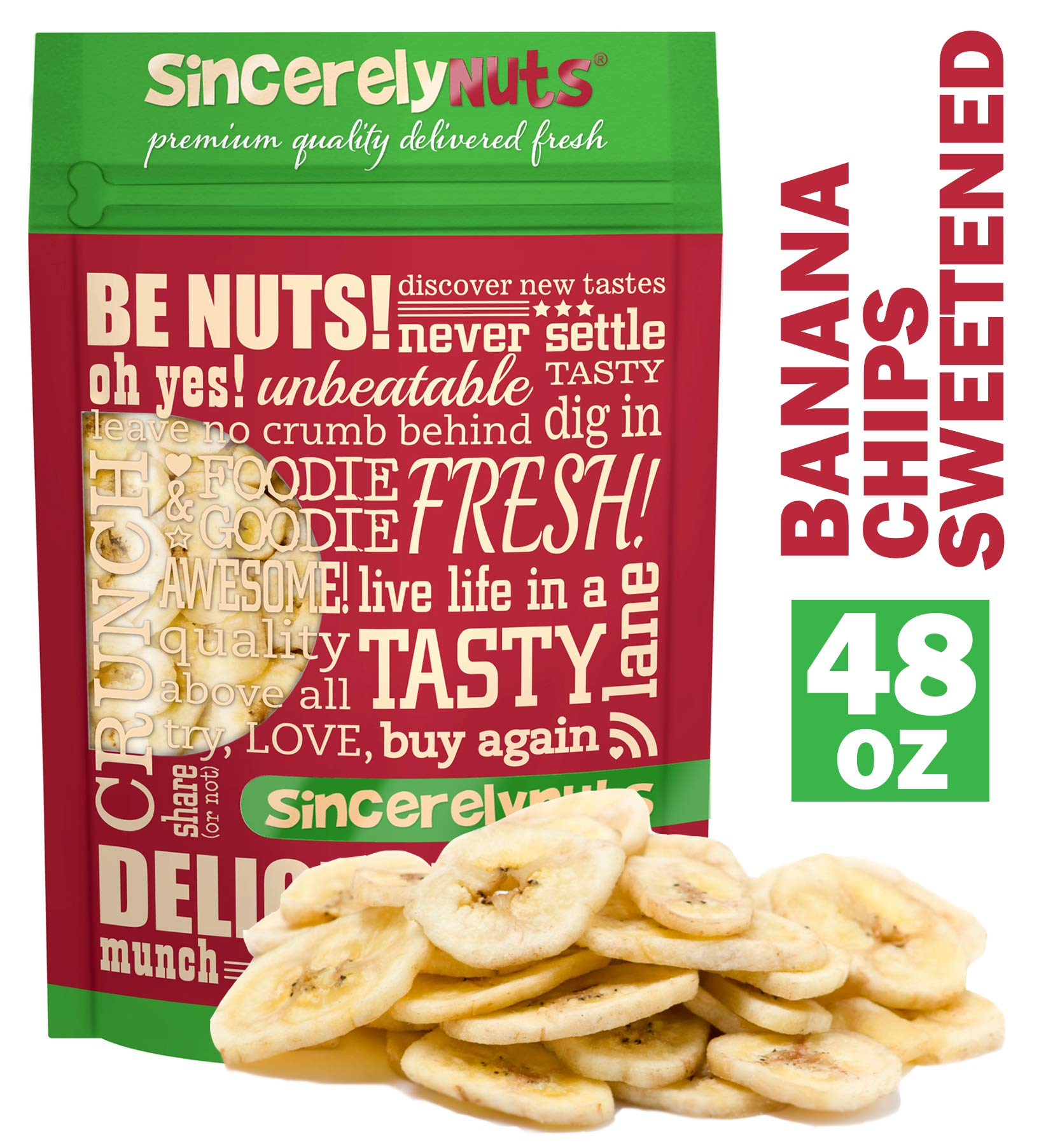 Sincerely Nuts Banana Chips (sweetened) (3 LB) - Gluten-Free Food, Vegan, and Kosher Snack-Healthier Alternative Sweet Treat-Same Banana Taste with Crunch Plus Added Taste-Natural Energy