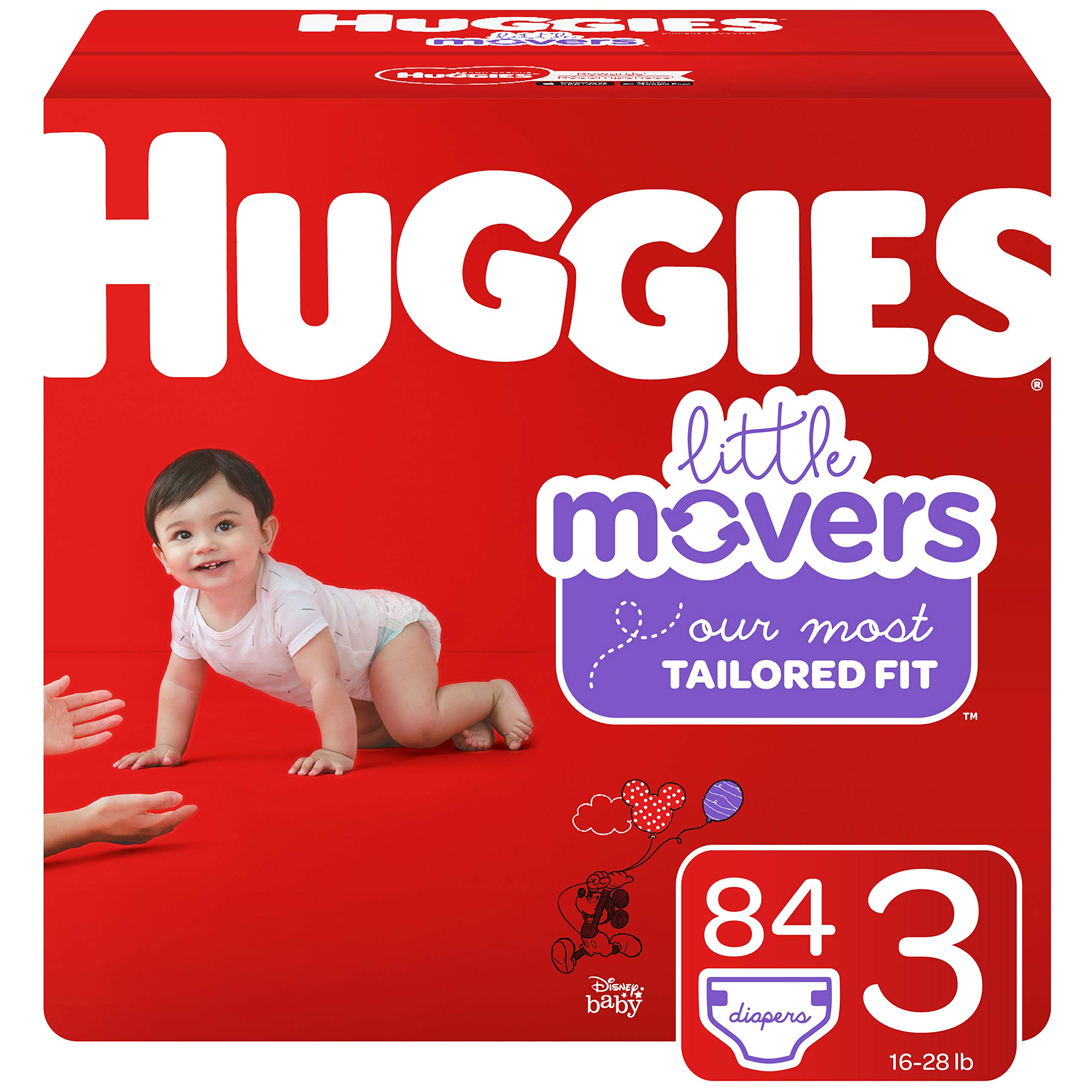 Huggies Little Movers Diapers, Size 3 (16-28 lb.), 84 Ct, Giga Jr Pack (Packaging May Vary) by HUGGIES