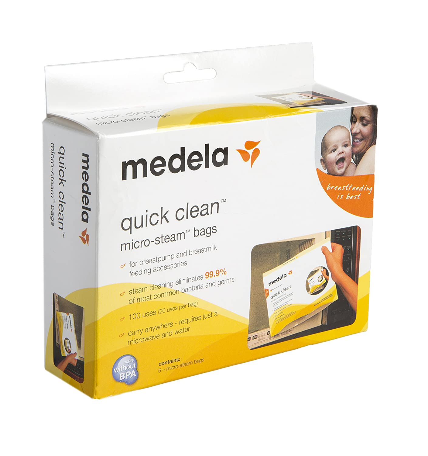 Medela Quick Clean Micro Steam Bags, 15 Count, Steam Bags for Bottles and Breast Pump Parts, Disinfects Most Breast Pump Accessories