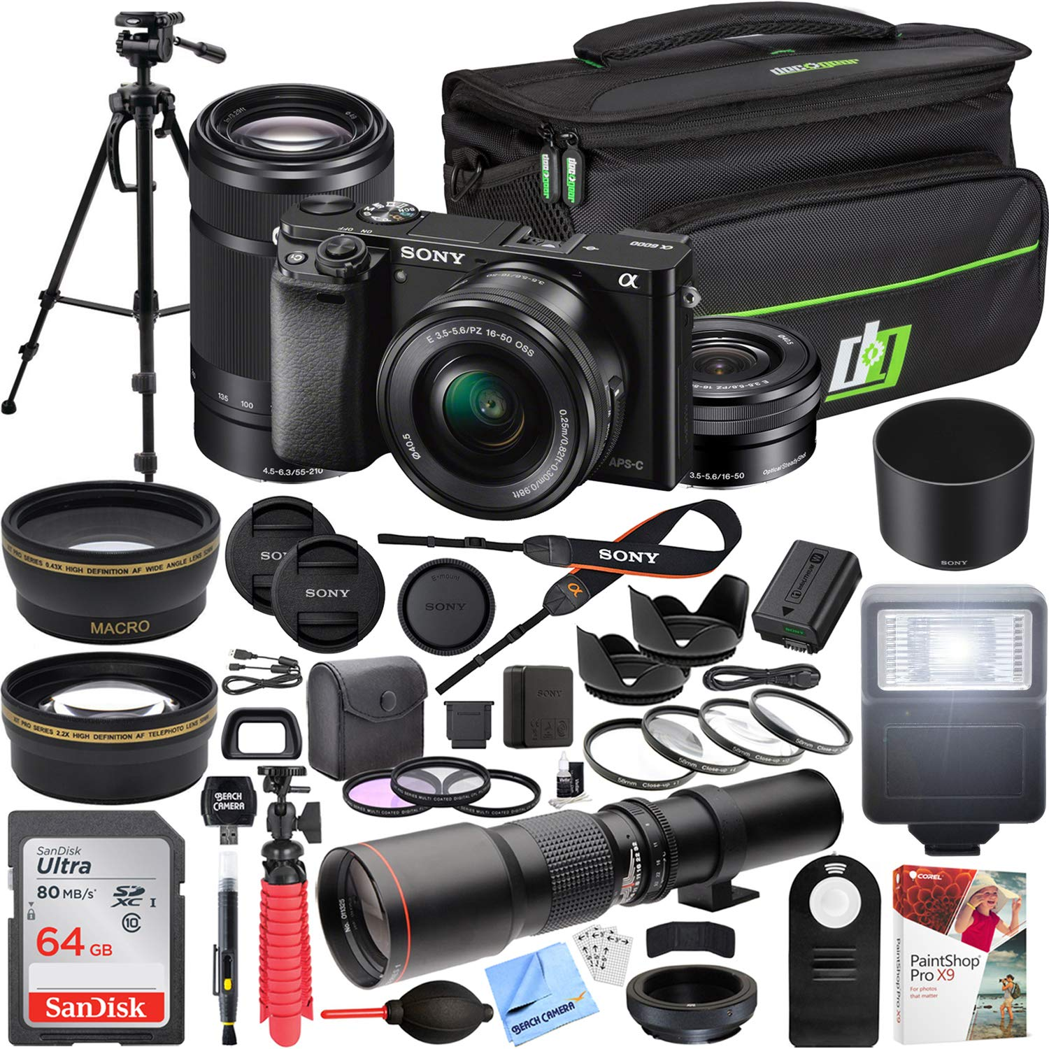 Sony Alpha a6000 Mirrorless Digital Camera with 16-50mm Lens Bundle with 55-210mm Zoom E-Mount Lens, 500mm Preset Telephoto Lens, 64GB Card and Accessories (19 Items) by Sony