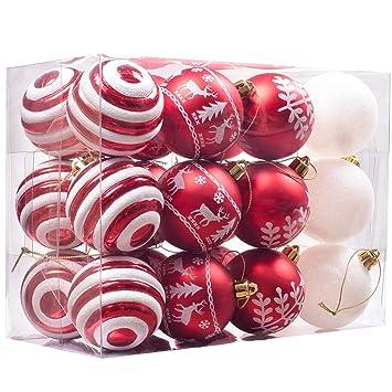 Christbaumkugeln Plastik Rot.Valery Madelyn Weihnachtskugeln 24 Stücke 6cm Kunststoff Christbaumkugeln Weihnachtsdeko Mit Aufhänger Weihnachtsbaumschmuck Set