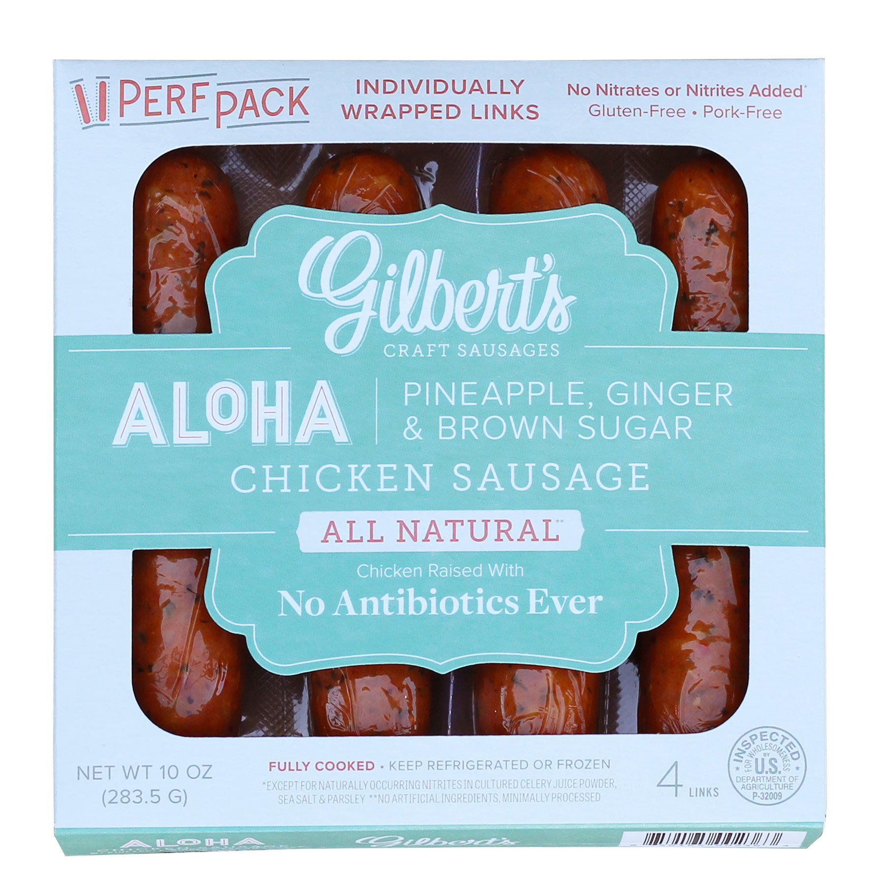 Gilbert's Craft Sausages Aloha Chicken Sausage with Pineapple, Ginger, and Brown Sugar, 10 Ounce
