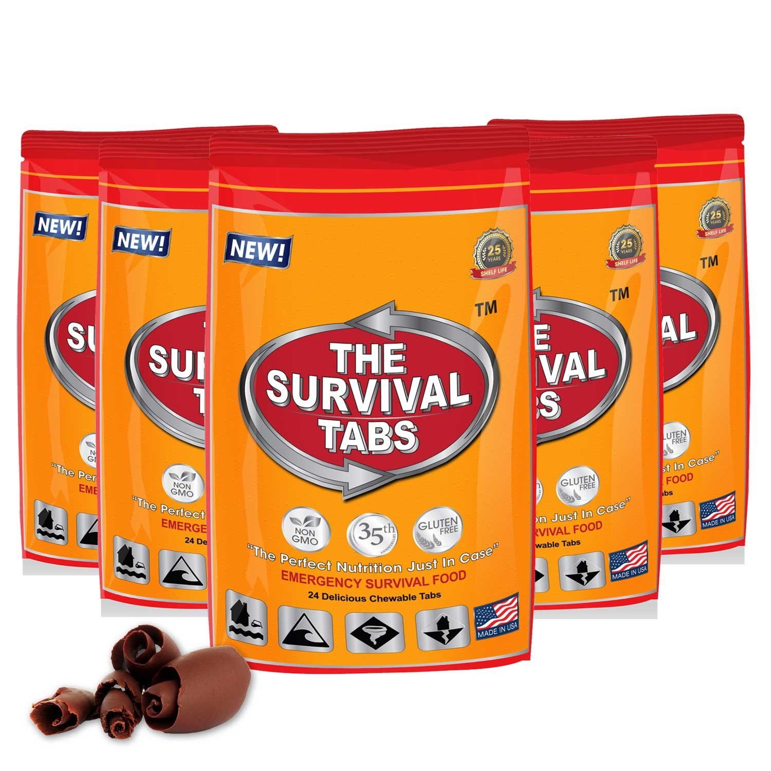 Emergency Food Supply - 10 days Survival Food for Emergency Situation - Gluten Free and Non-GMO 25 Years Shelf Life (120 tabs - Chocolate) by The Survival Tabs