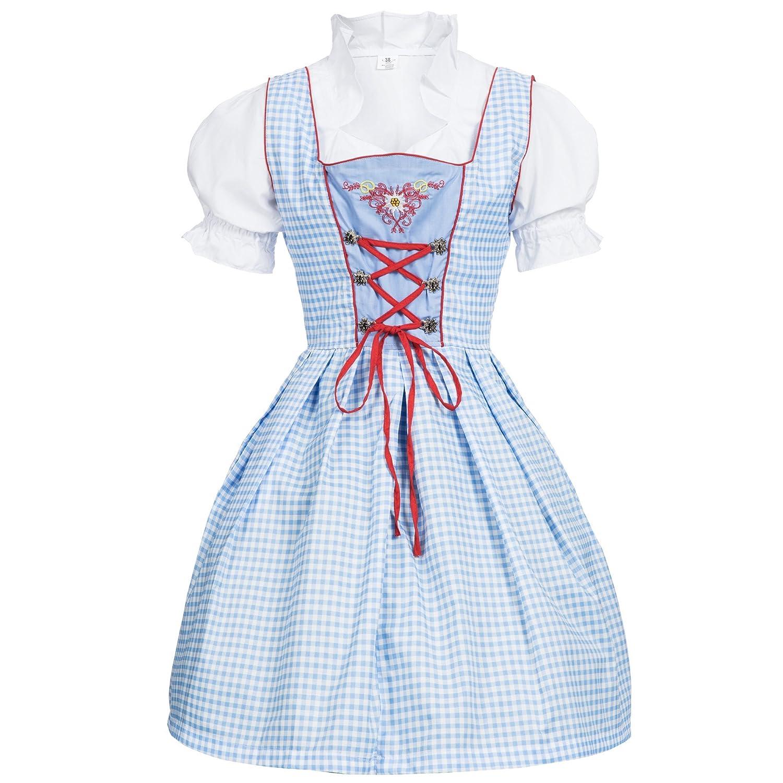 af776cbe65876 Bongossi-Trade Dirndl 3 TLG.Trachtenkleid Kleid, Bluse, Schürze, Gr. 34-46  hellblau/Weiss kariert