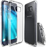 Galaxy S7 Edge Case, Ringke [FUSION] Precisely Outfitted [Clear][Vital Lift Design] Ultimate Crystal PC Back Flexible Soft TPU Side Edge Bumper w/ Versatile Port-Caps [Drop Protection] Defensive Cover