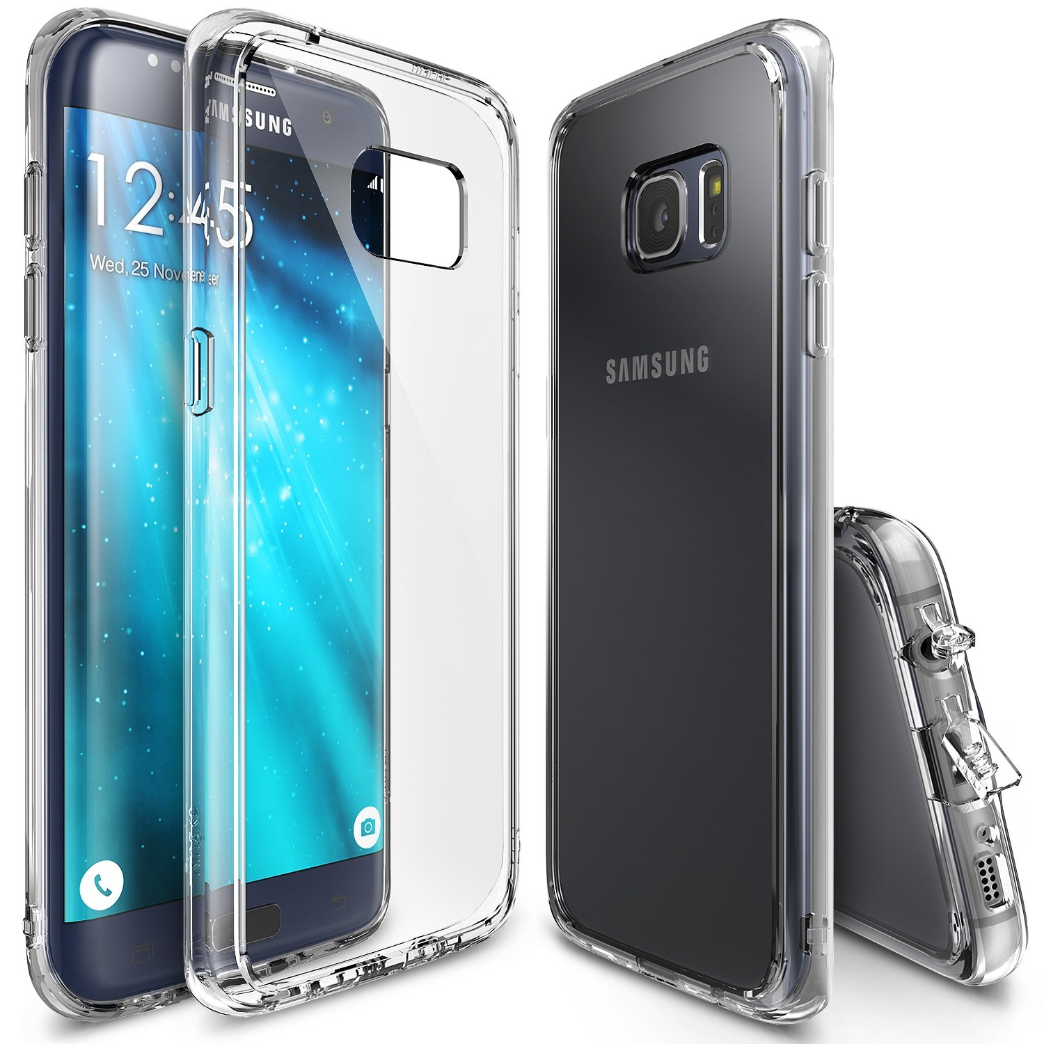 cheap for discount aa737 9ffcc Ringke Fusion Compatible with Galaxy S7 Edge Case Crystal PC Back Drop  Protection Cover - Clear