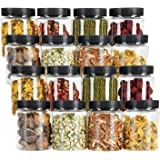 Tebery 16 Pack 16oz Clear Plastic Jars Bottles Canisters with Black Ribbed Lids Airtight Food Containers for Kitchen & Househ