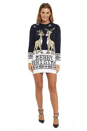 promo code 46b8c 4a63a LOOKS FUNNY Premium Lustig Lange Weihnachtspullover Weihnachtspulli Long  Pullis Strickpullover im Tunika-Stil für Damen mit weihnachtlichen Motiven,  ...
