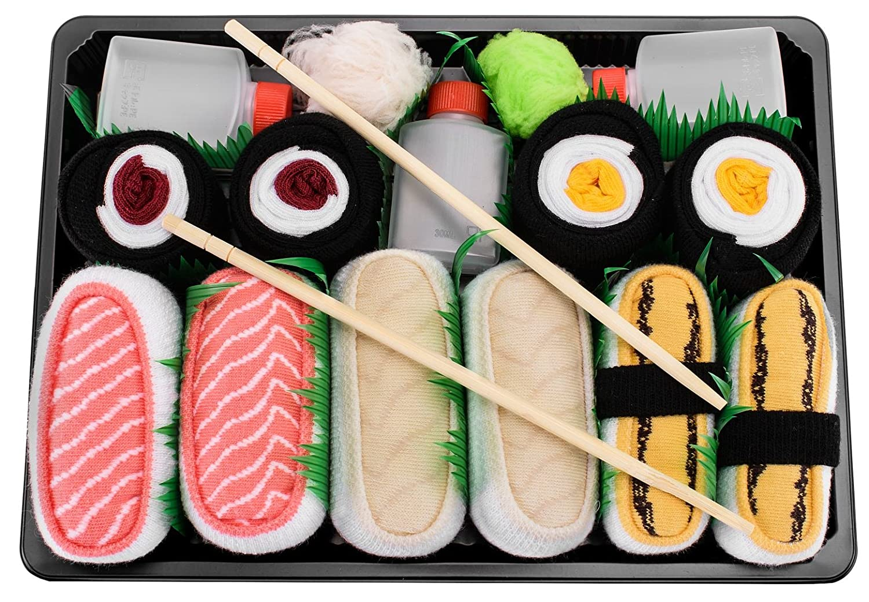 Sushi Socks Box - 5 pares de CALCETINES: Maki de Pepino, Maki de Oshinko, Maki de Atún - REGALO DIVERTIDO, Algodón de alta Calidad Tamaños 41-46, ...