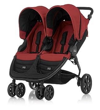 Britax B-Agile Double - Silla de paseo gemelar con manillar ajustable, cesta y capota, color rojo: Amazon.es: Bebé