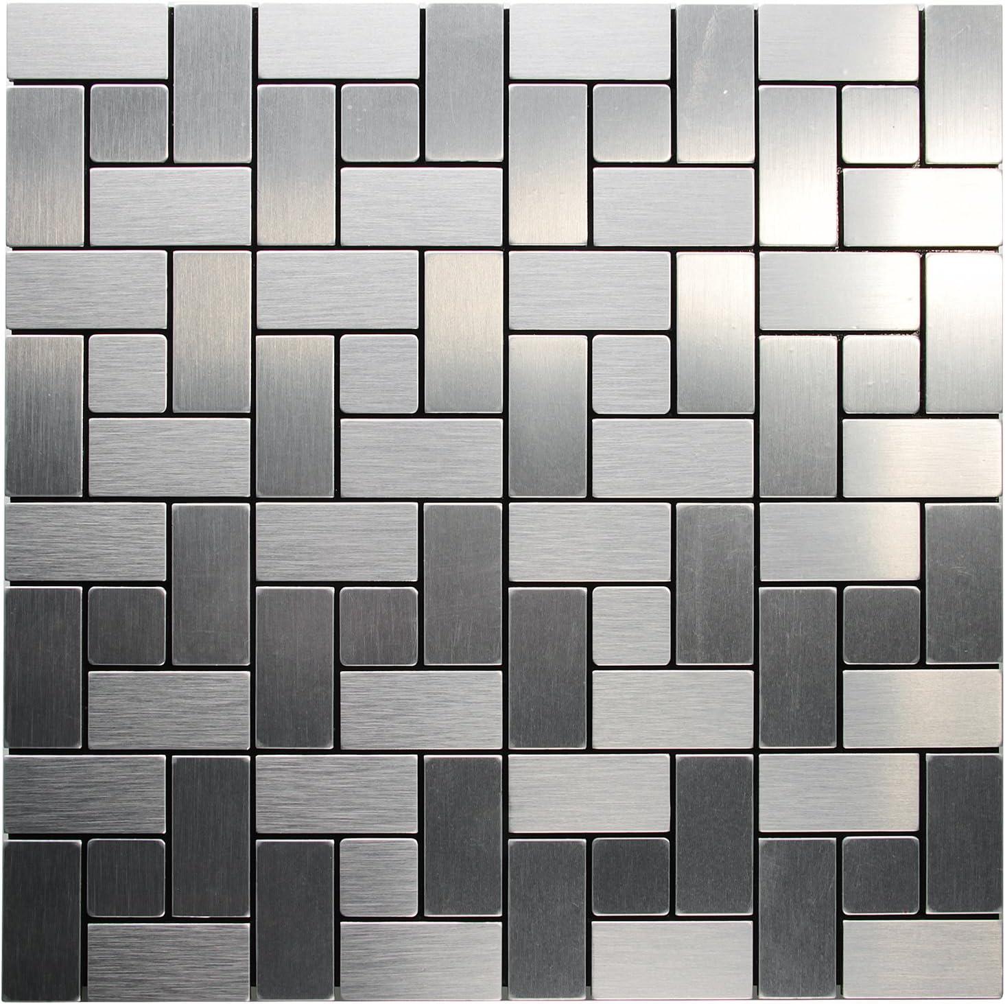 - Amazon.com: Royllent, Aluminum Mosaic Tile, Peel & Stick