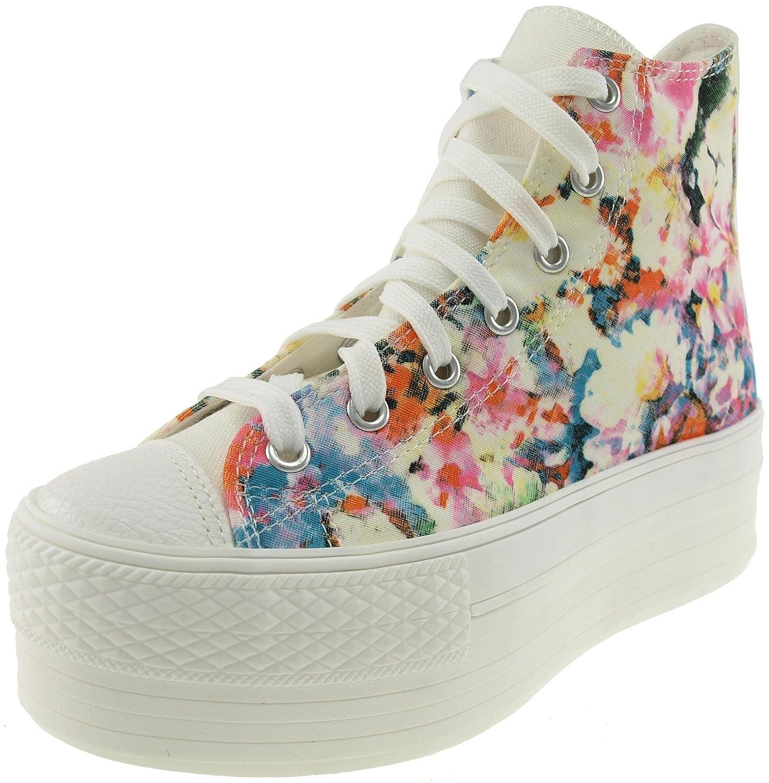 894214194ea56 Maxstar Women's C50 7 Holes Zipper Platform Canvas High Top Flower Sneakers