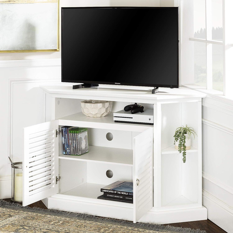 WE Furniture – Consola de Madera Soporte para televisor de Esquina, Color Negro: Amazon.es: Hogar