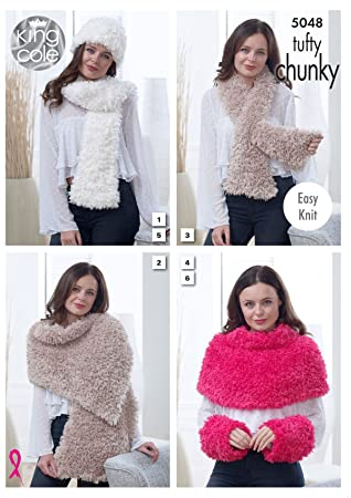 King Cole bommelförmige Chunky Strickmuster Damen Easy Knit Schal ...