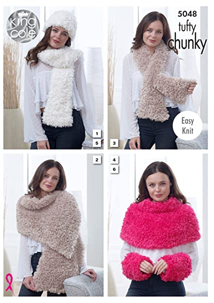 King Cole Tufty Chunky Knitting Pattern Womens Easy Knit Scarf Wrap