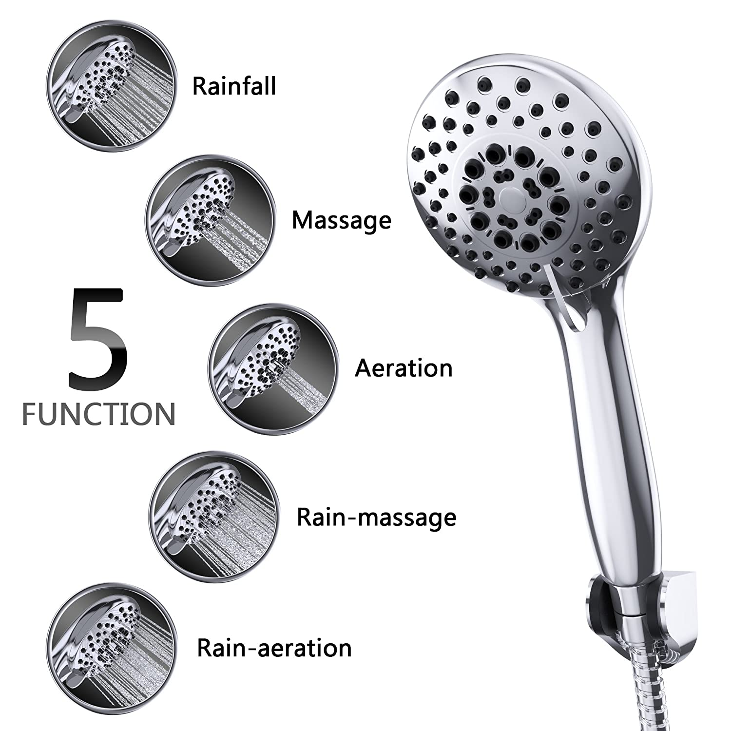 Exceptionnel Luxury Handheld Shower Heads   Rain Shower Head By Smartier   High Pressure  U0026 Premium Comfort   Premium Chrome   Best Rain Spray Shower Head   5 Foot  Hose, ...