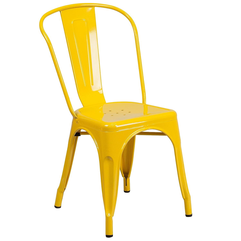 Flash Furniture Yellow Metal Indoor-Outdoor Stackable Chair