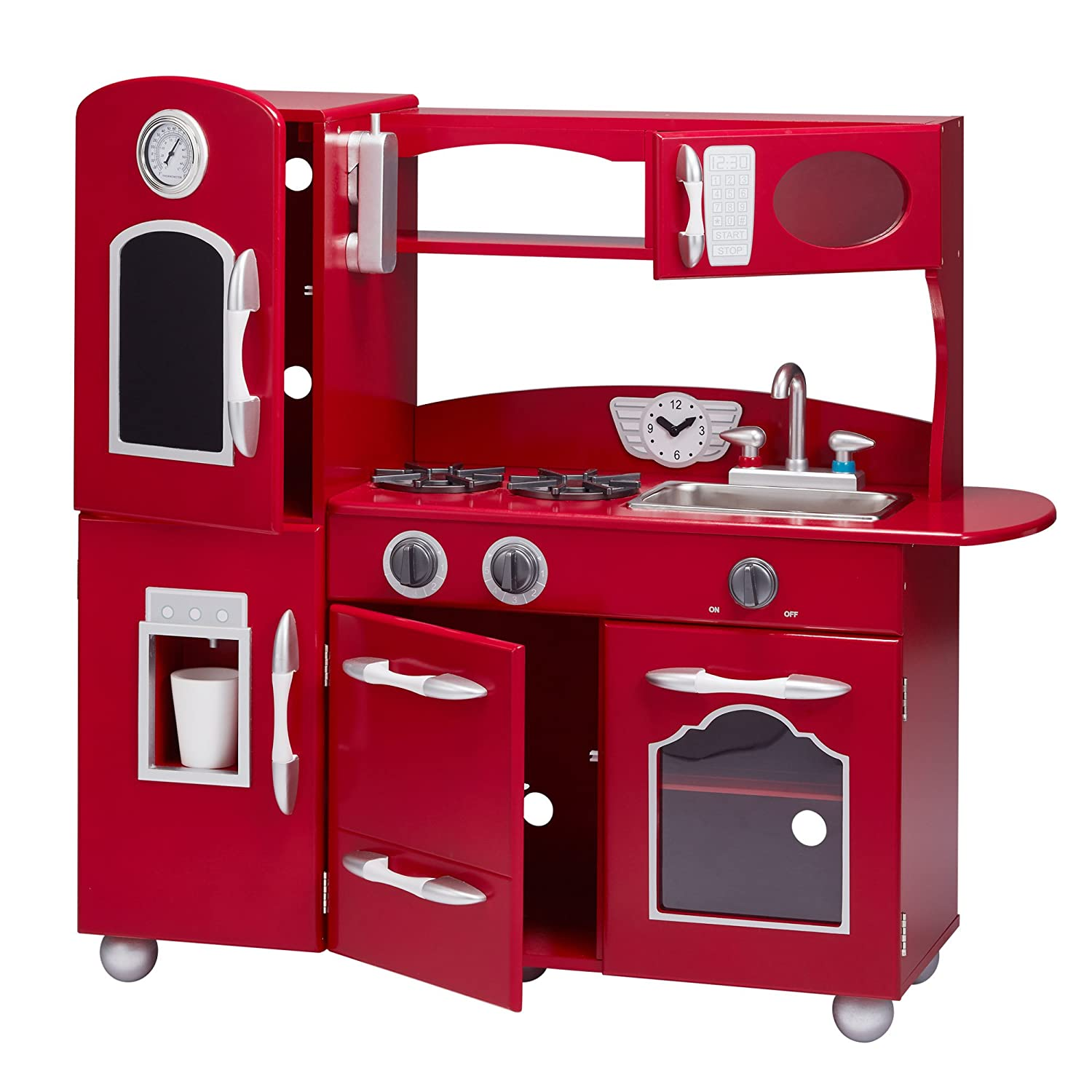 185aae6b43af Amazon.com: My Little Chef Teamson Kids Wooden Play Kitchen Set (1 Piece),  Red, One Size: Toys & Games
