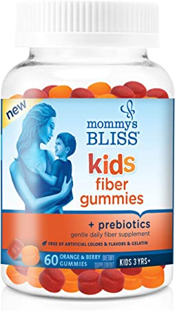 Mommy's Bliss Kids Fiber Gummies with Prebiotics and Chicory Root Gentle Daily Fiber Supplement (Ages 3+), Natural Orange & Berry Flavors,60 Gummies