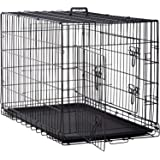 BestPet 48 inch 42 inch Large Dog Crate Dog Cage Dog Kennel Metal Wire Double-Door Folding Pet Animal Pet Cage with Plastic T