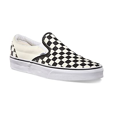 vans checkerboard slip ons black and white
