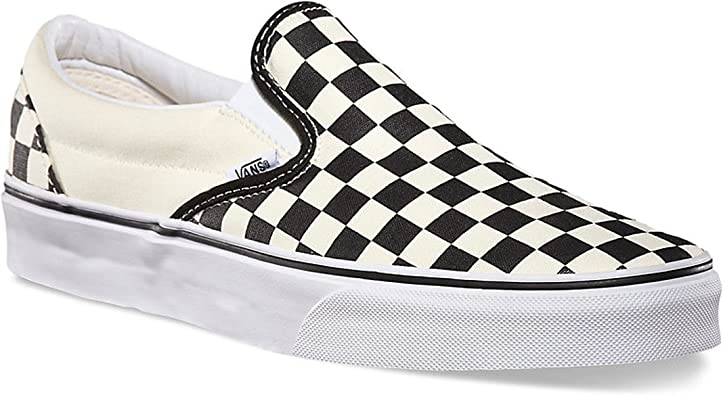 black and off white checkered vans
