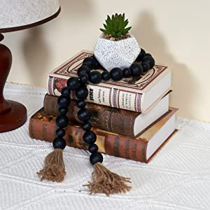 GENMOUS & CO. Wood Bead Garland Tassels Farmhouse Decorative Wooden Beads Garland Decor Prayer Beads for Rustic Country Wall Hanging Decor 39 Inches (Black)