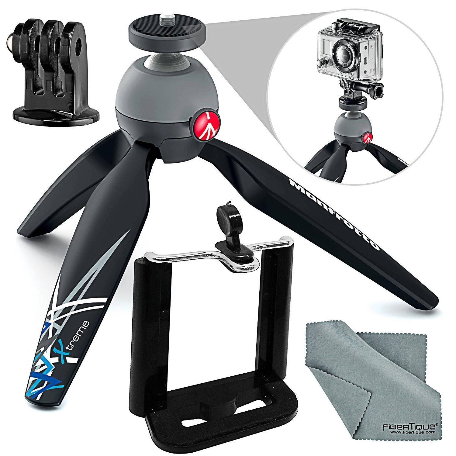 Manfrotto PIXI Xtreme Mini Table Top / Handgrip Tripod Bundle with Smartphone Adapter + Fibertique Cloth by Photo Savings