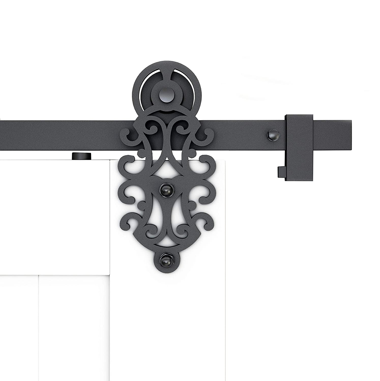 DIYHD Roller 6.6FT Ornate Cut Black Iron Sliding Barn Door Hardware