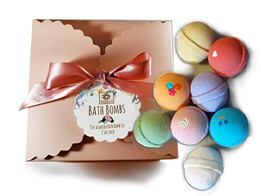 Bath Bombs Gift Set - 8pc Bath Bomb Gift set- Beautiful Upscale Box and Bow, Ready To Give for Holiday- USA Made with Natural and Organic Ingredients