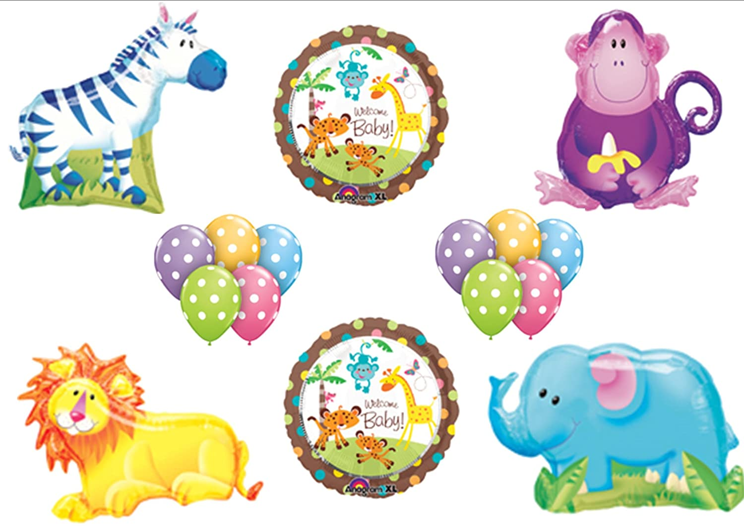 Amazon.com: King Queen Of Jungle Safari Fisher Price Welcome Baby Shower  Balloon Bouquet Set: Toys U0026 Games