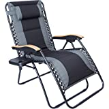 LUCKYBERRY Oversize XL Padded Zero Gravity Lounge Chair Grey Wider Armrest Adjustable Recliner with Cup Holder, Support 350 LBS,