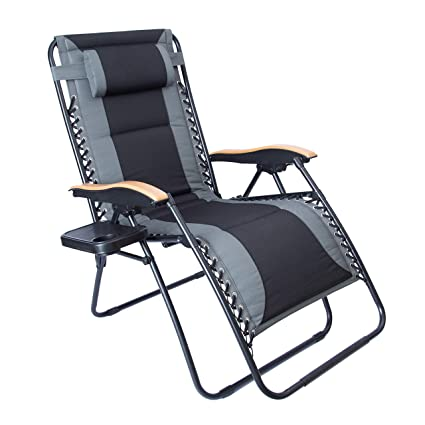 Stupendous Luckyberry Oversize Xl Padded Zero Gravity Lounge Chair Grey Wider Armrest Adjustable Recliner With Cup Holder Support 350 Lbs Blue Evergreenethics Interior Chair Design Evergreenethicsorg