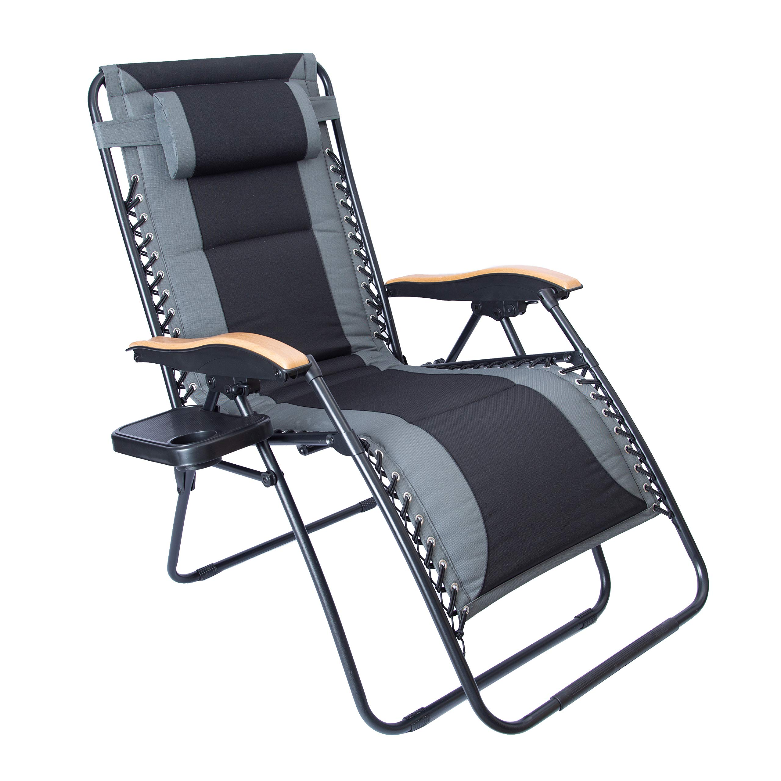 LUCKYBERRY Oversize XL Padded Zero Gravity Lounge Chair Grey Wider Armrest Adjustable Recliner with Cup Holder, Support 350 LBS, Blue