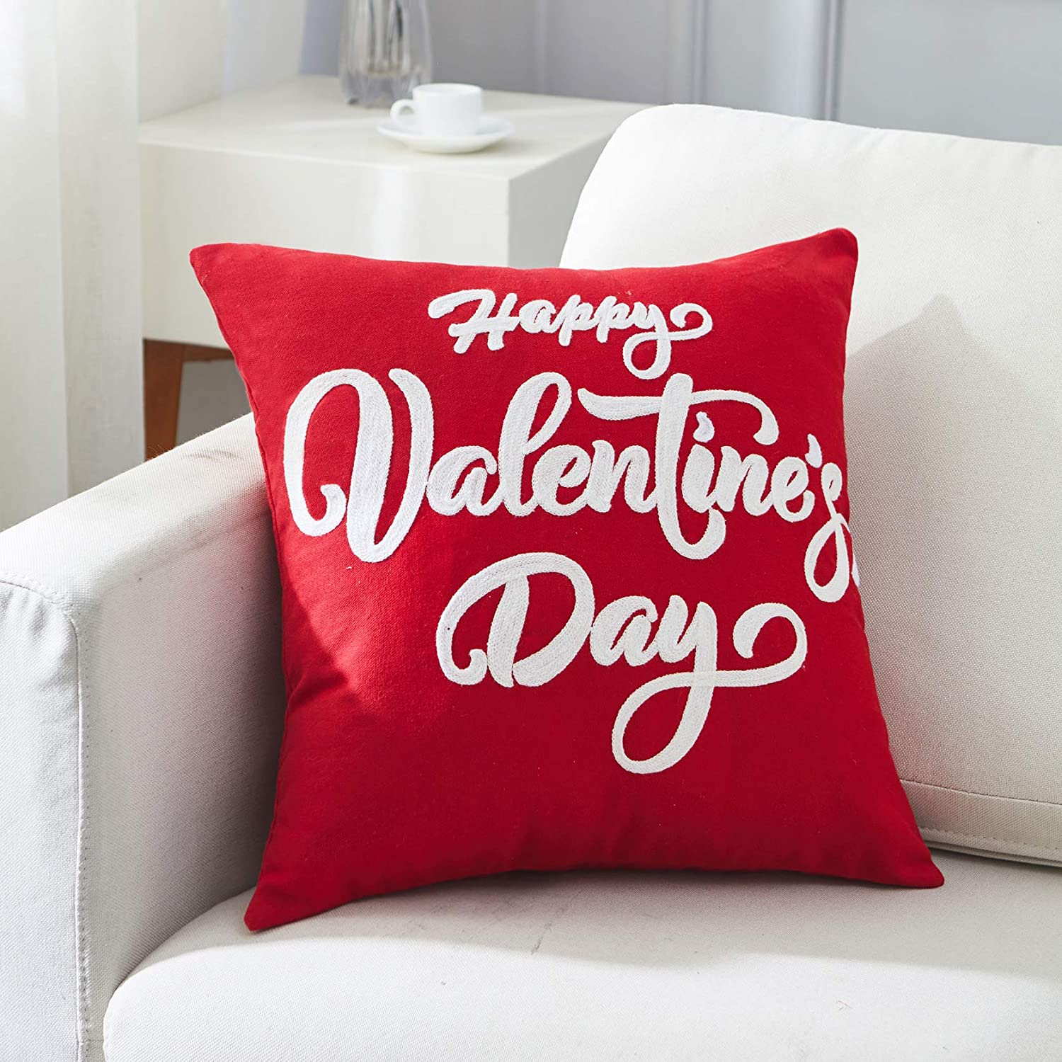 Amazon Com Happy Valentine S Day Decorations Throw Pillow Case Cushion Cover 18x18 Inch Chain Embroidery Letters Pattern Gifts For Valentine S Day Home Kitchen