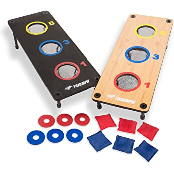 Amazon Com Tabletop Cornhole Game With Red And Black