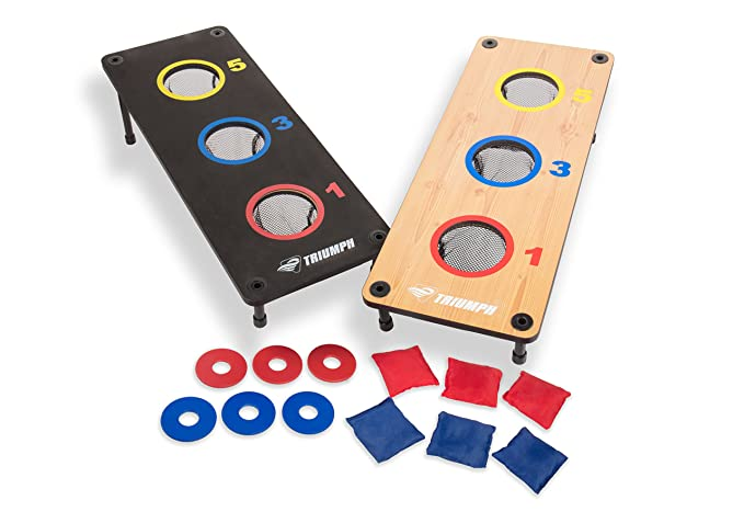 Triumph 2-in-1 Three-Hole Bags and Washer Toss Combo with Two Game Platforms Featuring On-Board Scoring, Six Square Toss Bags, and Six Washers