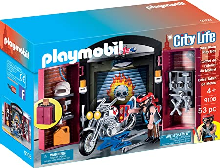 PLAYMOBIL 9108Ciudad Vida Bike Shop Play Box, Multicolor