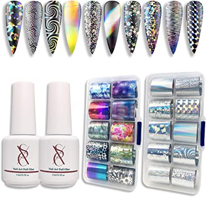 Amazon Com Sxc G 17 Nail Art Foil Kit Glue Gel With Foil Stickers Set Nail Transfer Tips Manicure Art Diy 2x 15ml 20pcs Stickers Uv Led Lamp Required Holo Series Arts Crafts Sewing